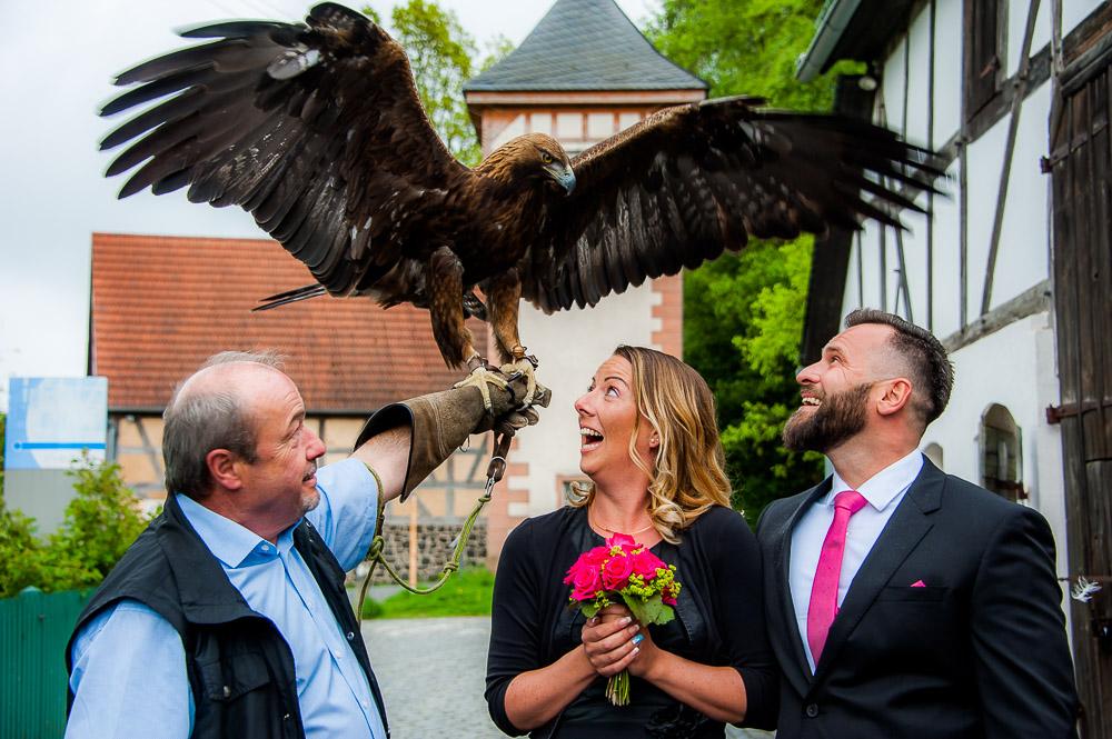 Wenn der Adler über dem frischen Brautpaar seine Flügel ausbreitet – Hochzeitsfotos mit Attila